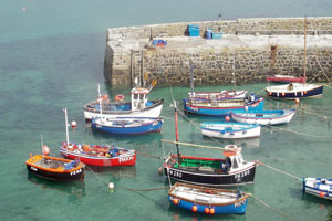 Boats in Coverack Harbour Cornwall