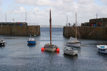 Resting boats Mousehole Harbour Mousehole Cornwall