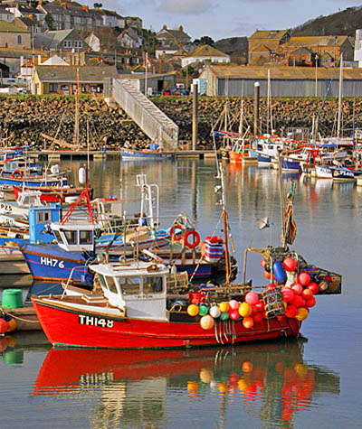 Boat in the harbour at Newlyn Cornwall
